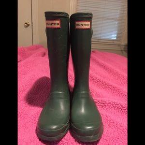 Kids' Hunter boots, Hunter Green Size 3 used w/box